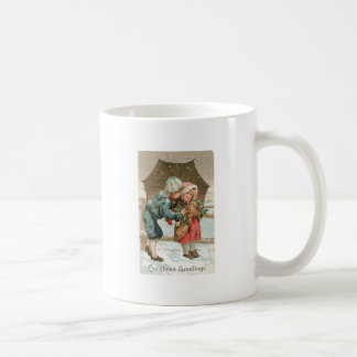 Children with an umbrella in the snow on Christmas Basic White Mug