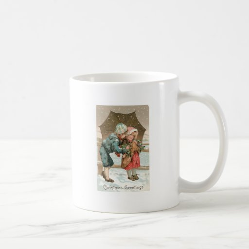 Children with an umbrella in the snow on Christmas Mugs