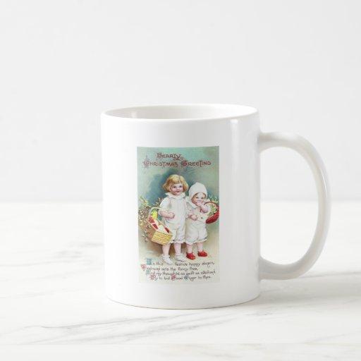 Children with Baskets Vintage Christmas Mug