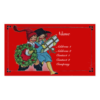 CHILDREN WITH CHRISTMAS GIFTS BUSINESS CARD TEMPLATE