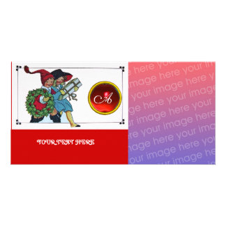 CHILDREN WITH CHRISTMAS GIFTS monogram Customised Photo Card