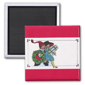 CHILDREN WITH CHRISTMAS GIFTS SQUARE MAGNET