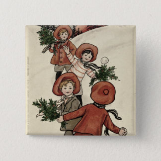 Children with Holly Throwing Snowballs 15 Cm Square Badge