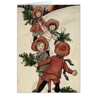 Children with Holly Throwing Snowballs Card