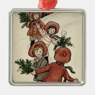 Children with Holly Throwing Snowballs Christmas Ornament