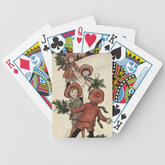 Children with Holly Throwing Snowballs (colour Poker Deck