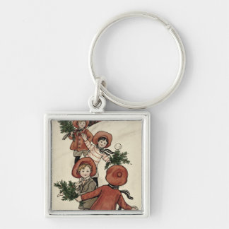 Children with Holly Throwing Snowballs Key Ring