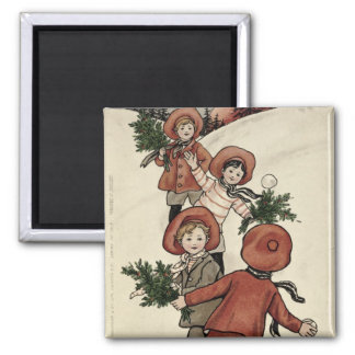 Children with Holly Throwing Snowballs Magnet