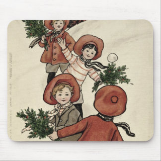 Children with Holly Throwing Snowballs Mouse Mat