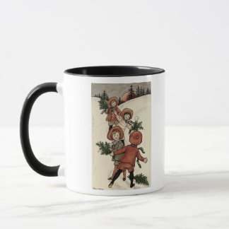 Children with Holly Throwing Snowballs Mug