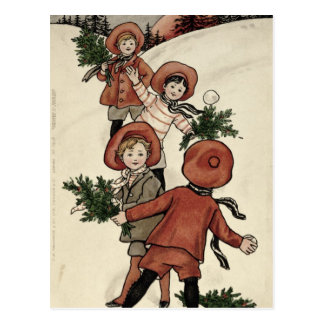 Children with Holly Throwing Snowballs Postcard