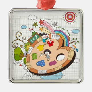 Children with paintbrushes christmas ornament