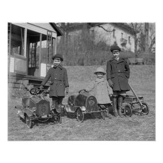 Children with Pedal Cars 1924 Poster