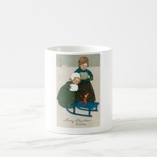 Children with Sled on Christmas in the Snow Basic White Mug