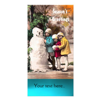 CHILDREN WITH SNOWMAN , PHOTO TEMPLATE CUSTOMIZED PHOTO CARD
