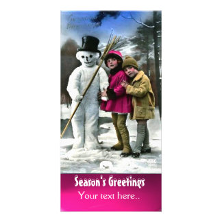 CHILDREN WITH SNOWMAN , PHOTO TEMPLATE PHOTO CARDS