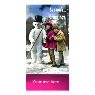 CHILDREN WITH SNOWMAN , PHOTO TEMPLATE PHOTO GREETING CARD