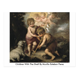 Children With The Shell By Murillo Esteban Perez Postcard
