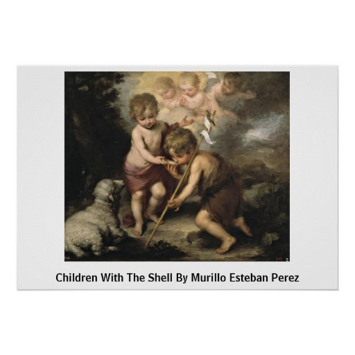 Children With The Shell By Murillo Esteban Perez Print