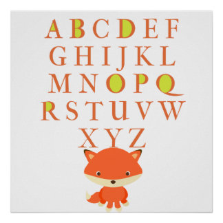 Children's ABCs With Cute Fox Poster