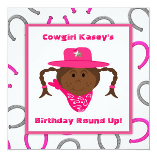 Children's African American Cowgirl Birthday Custom Announcement