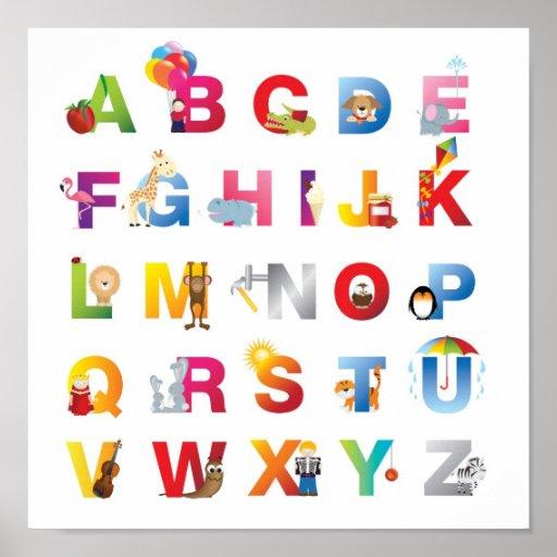 childrens alphabet poster zazzle. Black Bedroom Furniture Sets. Home Design Ideas