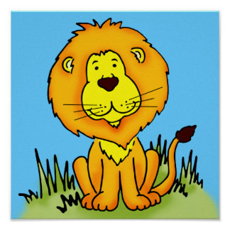 Children's art graphic lion animal poster