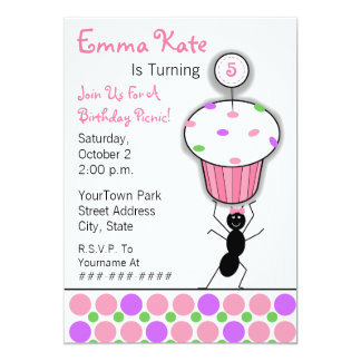 Childrens Birthday Picnic Party - Ant & Cupcake Personalized Announcement