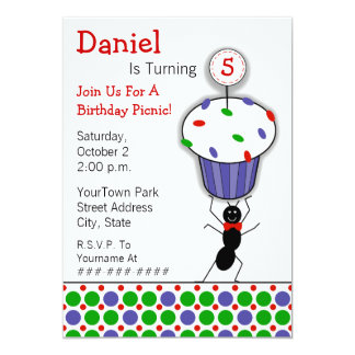 Childrens Birthday Picnic Party - Ant & Cupcake Personalized Invitation