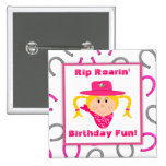 Children's Blonde Cowgirl Horseshoes Party Favour 15 Cm Square Badge