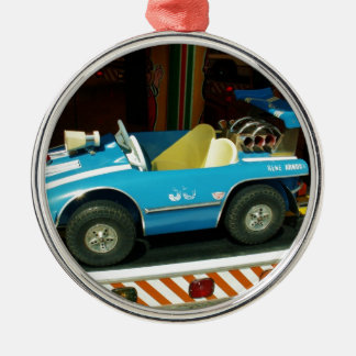 Children's Carousel Car. Silver-Colored Round Decoration