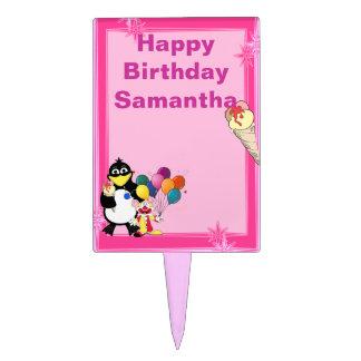 Children's cartoon penguin rectangle cake pick