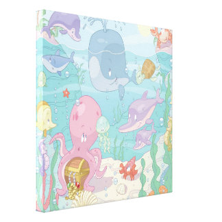 Children's Cartoon Sea Life Wrapped Canvas Stretched Canvas Print