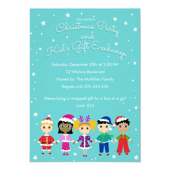 Children's Christmas Party and Kid's Gift Exchange Card