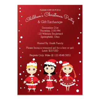 Children's Christmas Party & Gift Exchange 11 Cm X 16 Cm Invitation Card