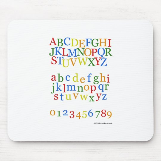 Children's Colourful Alphabet Upper + Lower Case Mouse Pad