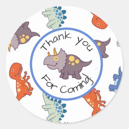 Children's Dinosaur Pattern Birthday Thank You Classic Round