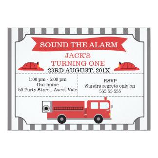 Childrens Fire Engine Birthday Party Invitation