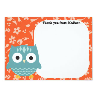 Children's Flat Panel Thank You Cards Blue Owl