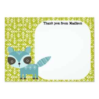 Children's Flat Panel Thank You Cards Blue Raccoon