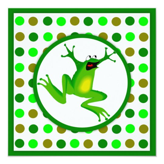 Children's Frog and Green Polka Dots Birthday Card