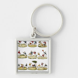 Children's Games, 1810 Silver-Colored Square Key Ring