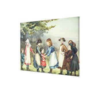 Children's Games, c.1880 (w/c on paper) Canvas Print