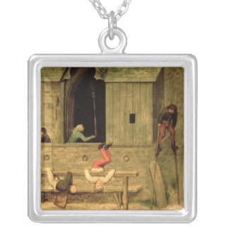 Children's Games : detail of a boy on stilts Silver Plated Necklace