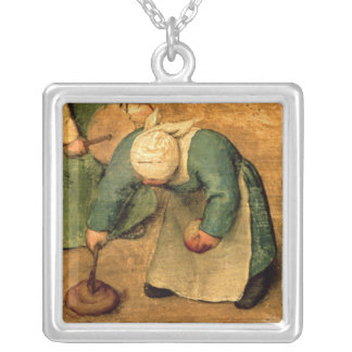 Children's Games : detail of a girl playing Silver Plated Necklace
