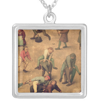 Children's Games detail of playing leap-frog Silver Plated Necklace