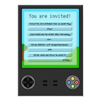 Children's Handheld Games Console Birthday Party Card