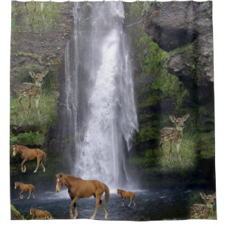 Childrens horses shower curtain