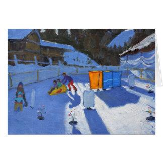 childrens ice rink Clusaz 2014 Greeting Card
