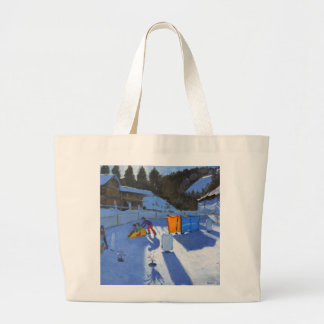 childrens ice rink Clusaz 2014 Large Tote Bag